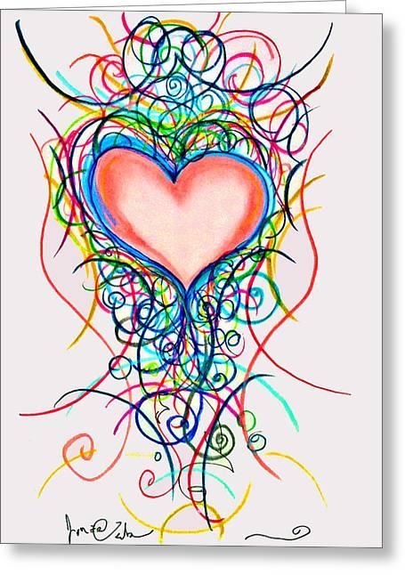 Martini Heart Greeting Card by Jon Veitch