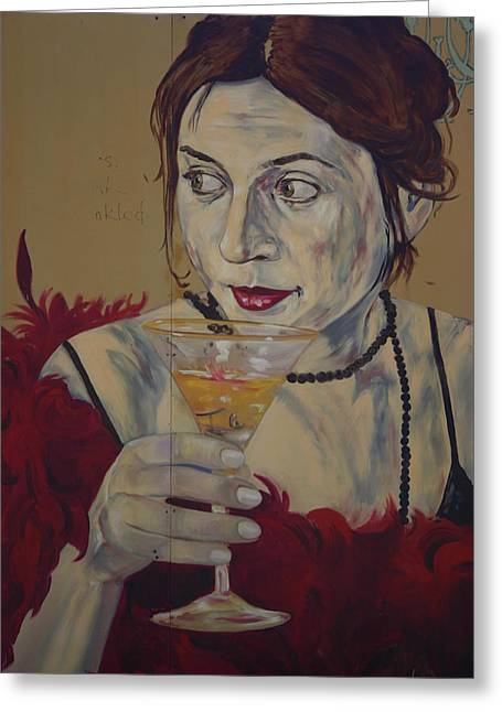 Martini Lady Greeting Card by Dennis Curry