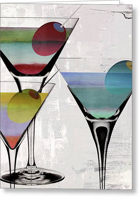 Martini Prism Greeting Card by Mindy Sommers