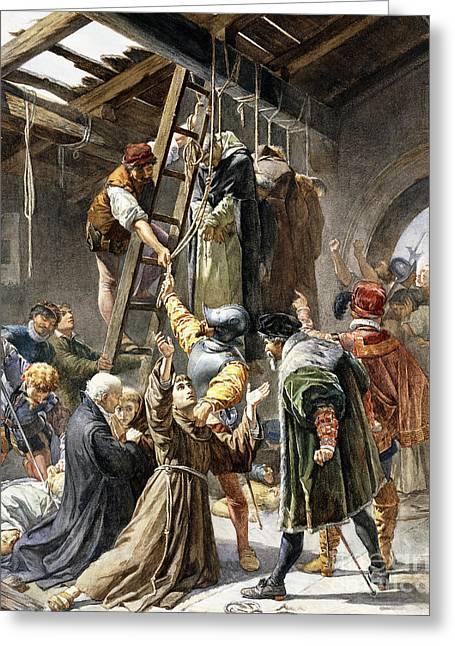 Martyrs Of Gorkum Greeting Card by Paolino Pavesi