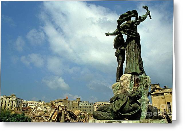 Martyr's Statues In Beirut Greeting Card by Sami Sarkis