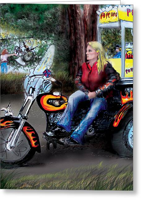 Saloons Greeting Cards - Martys Harley Greeting Card by Albert Puskaric