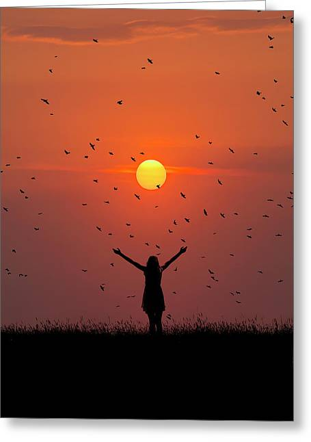 Silhouette Of Girl On Brow Of Hill At Sunset Greeting Card