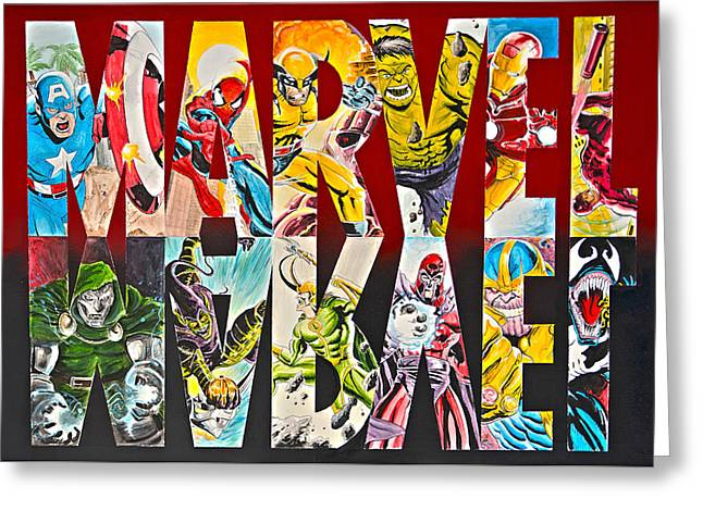Marvel Hero's And Villain's  Greeting Card by James Holko
