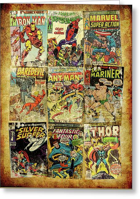 Marvel Superheros Collage Greeting Card by Russell Pierce