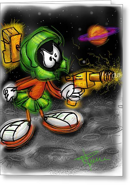 Martians Greeting Cards - Marvin the Martian Greeting Card by Russell Pierce