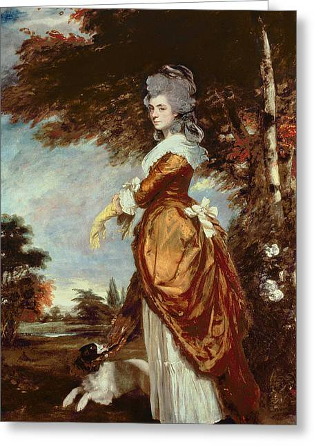 Dog Walking Greeting Cards - Mary Amelia First Marchioness of Salisbury Greeting Card by Sir Joshua Reynolds