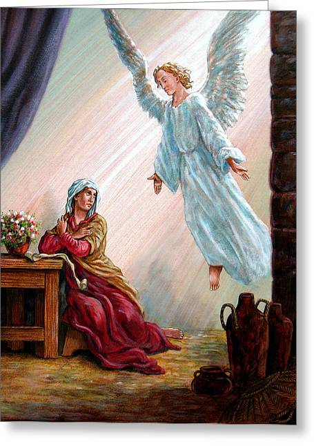 Mary And Angel Greeting Card by John Lautermilch