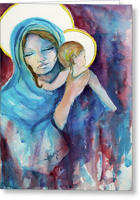 Mary And Baby Jesus Greeting Card by Mary DuCharme