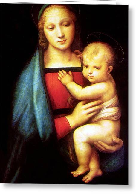 Mary And Baby Jesus Greeting Card by Munir Alawi