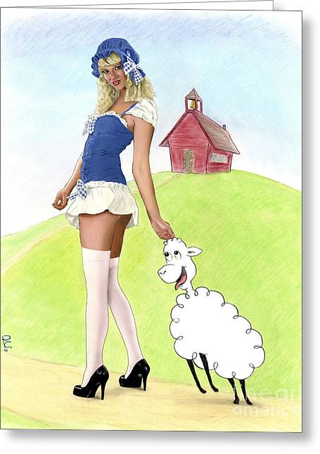 Mary And Her Lamb Greeting Card by Kevin Clark