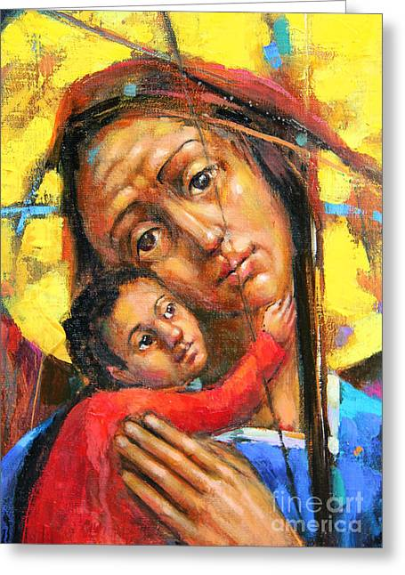 Mary And Son Greeting Card by Michal Kwarciak