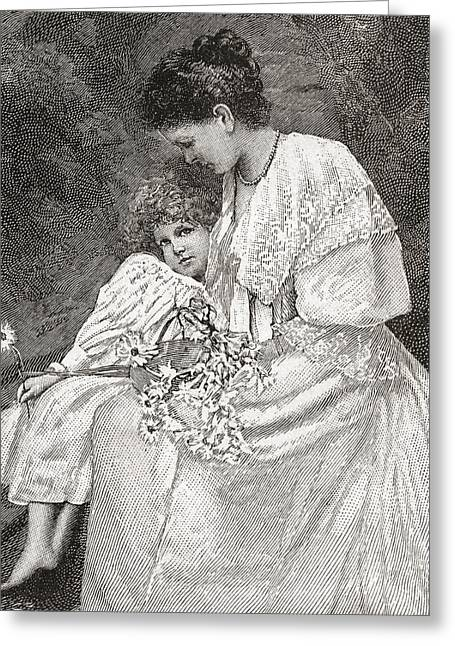 Mary Drew, N Greeting Card by Vintage Design Pics