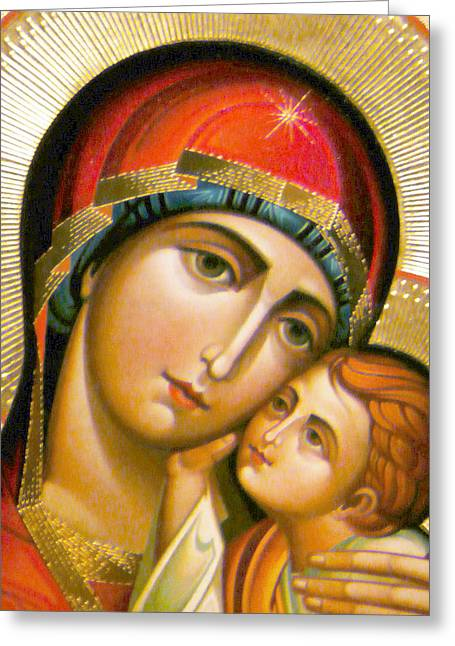 Religious Art Photographs Greeting Cards - Mary Icon Greeting Card by Munir Alawi