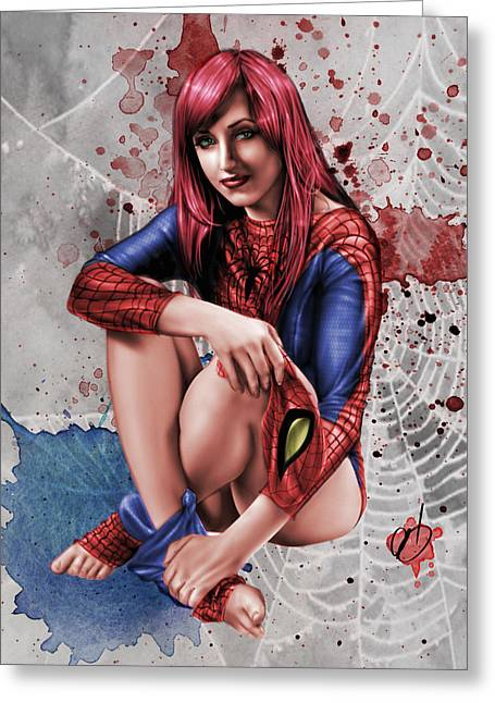 Mary Jane Parker Greeting Card by Pete Tapang