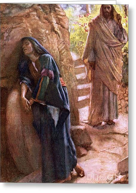 Mary Magdalene At The Sepulchre Greeting Card by Harold Copping