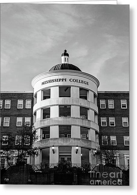 Mary Nelson Hall - Mississippi College Bw Greeting Card