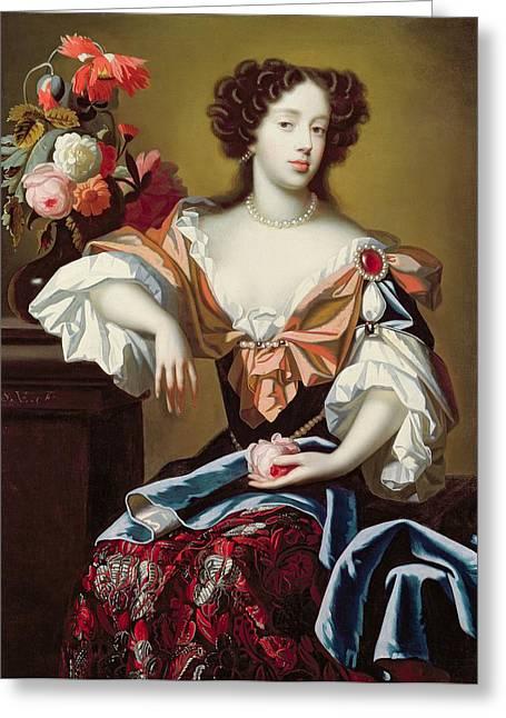 Mary Of Modena  Greeting Card by Simon Peeterz Verelst