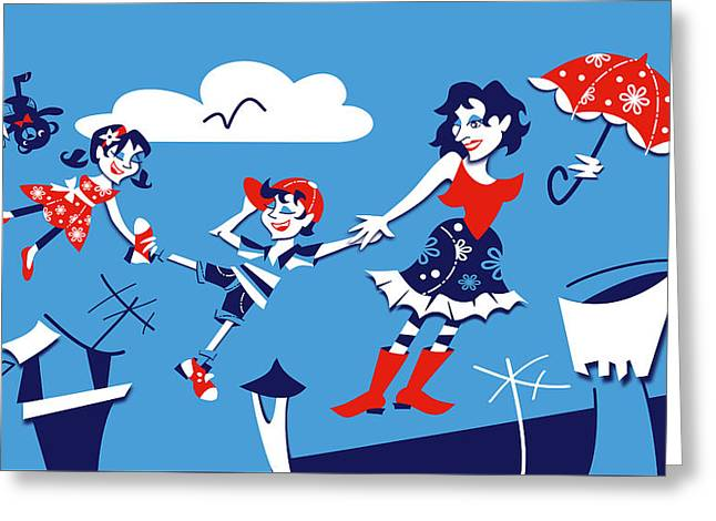 Mary Poppins - Children Book Illustration Greeting Card by Arte Venezia