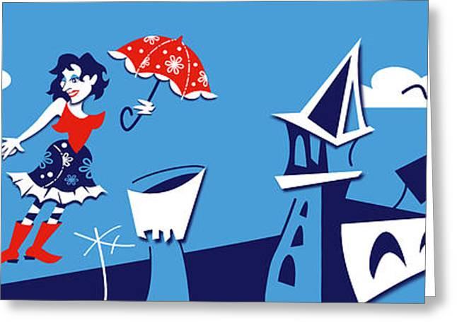 Mary Poppins Flying In Venice Skyline Greeting Card by Arte Venezia