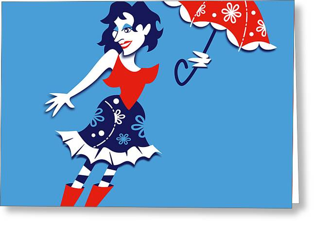 Mary Poppins - Graphic Art Design Greeting Card by Arte Venezia