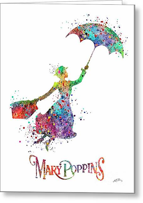 Mary Poppins Watercolor Print Mary Poppins Watercolor Print Llustrations Kid's Room Wall Poster Gicl Greeting Card by Svetla Tancheva