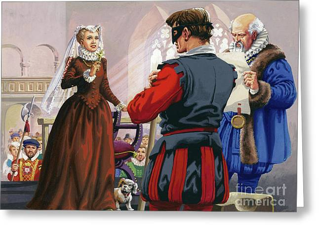 Mary Queen Of Scots About To Be Beheaded At Fotheringay Castle Greeting Card by Pat Nicolle
