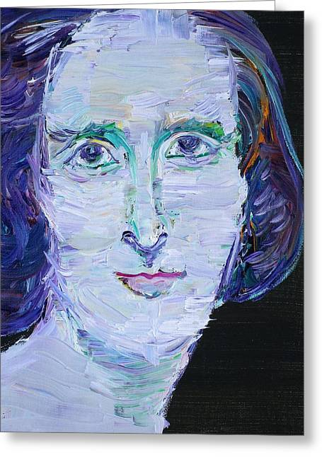 Greeting Card featuring the painting Mary Shelley - Oil Portrait by Fabrizio Cassetta