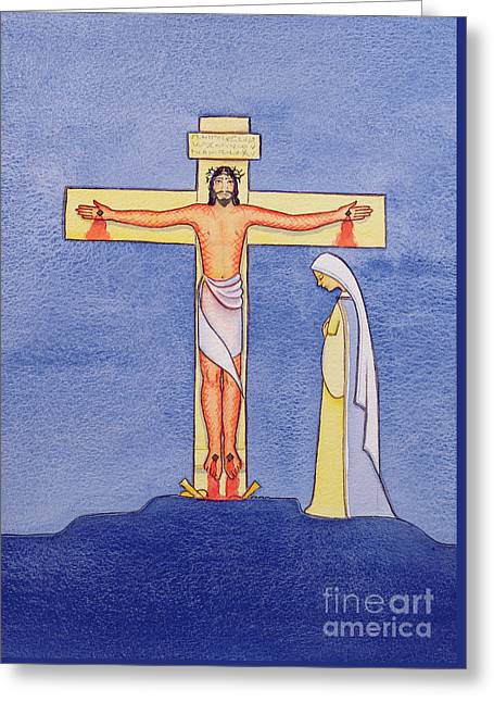 Mary Stands By The Cross As Jesus Offers His Life In Sacrifice Greeting Card