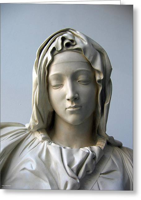 Greeting Card featuring the sculpture Mary by Suhas Tavkar