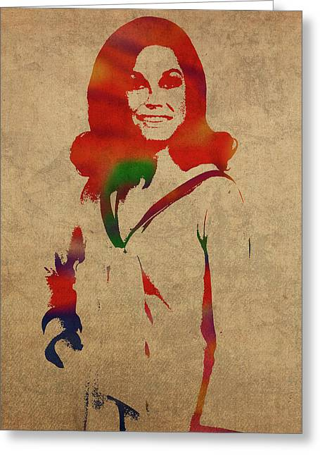 Mary Tyler Moore Watercolor Portrait Greeting Card