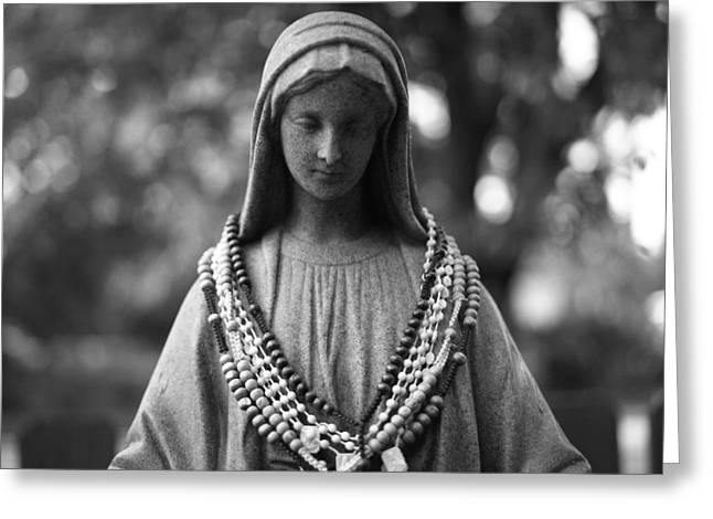 Mary With Rosaries Greeting Card