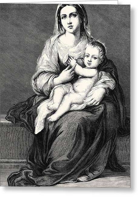 Mary With The Child Jesus Greeting Card by German School