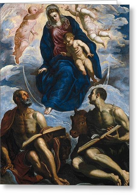 Mary With The Child, Venerated By St. Marc And St. Luke Greeting Card by Tintoretto