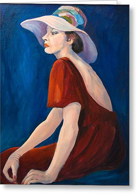 Pensive Greeting Cards - Maryanne with Hat Greeting Card by Jinny Slyfield