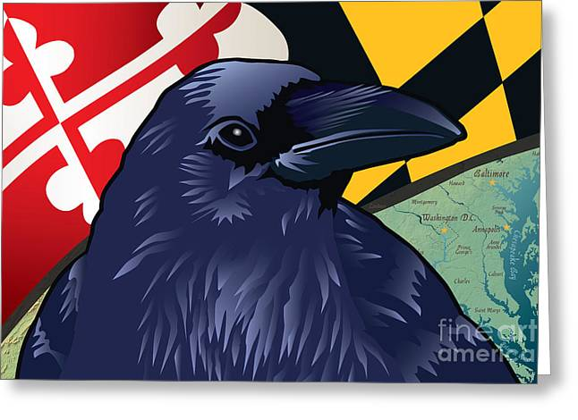 Edgar Allan Poe Greeting Cards - Maryland Citizen Raven Greeting Card by Joe Barsin