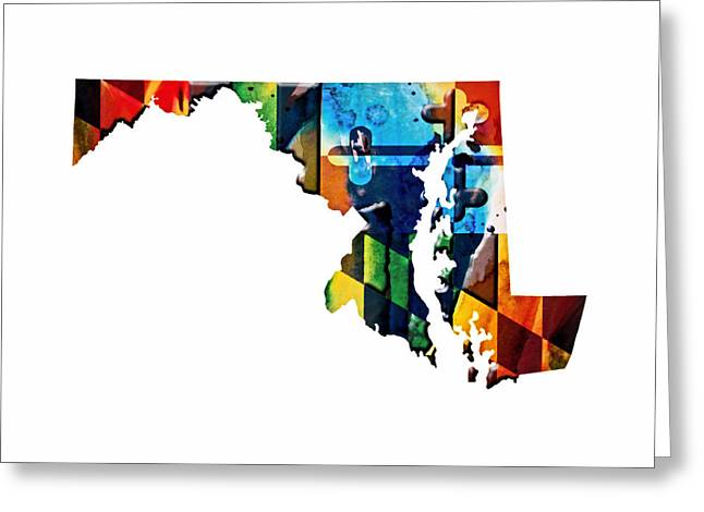 Maryland Paint Splatter Greeting Card by Brian Reaves