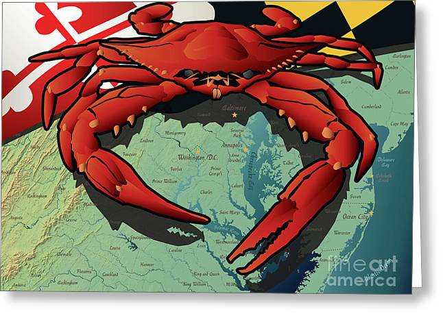 Maryland Red Crab Greeting Card
