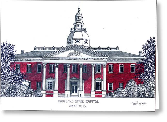 Maryland State Capitol Greeting Card by Frederic Kohli
