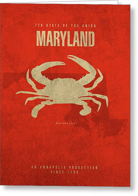 Maryland State Facts Minimalist Movie Poster Art Greeting Card