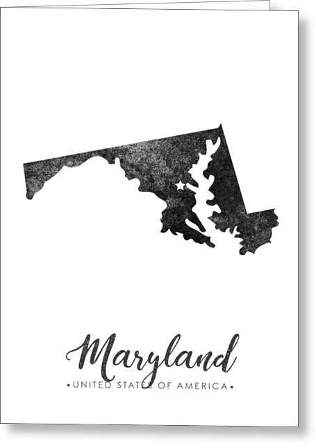 Maryland State Map Art - Grunge Silhouette Greeting Card
