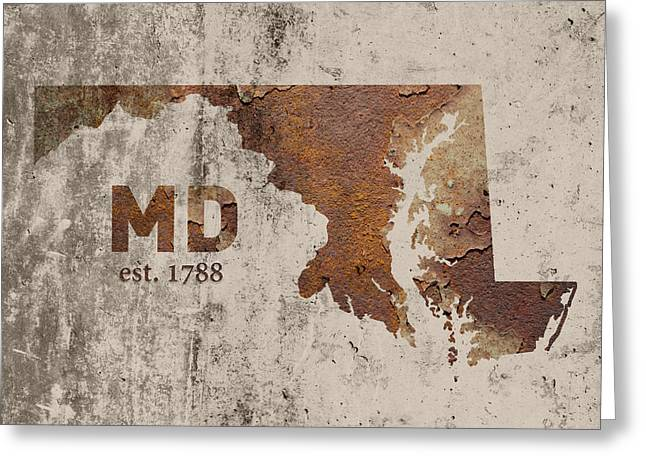 Maryland State Map Industrial Rusted Metal On Cement Wall With Founding Date Series 027 Greeting Card