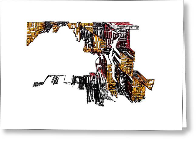 Maryland Typographic Map 4a Greeting Card by Brian Reaves