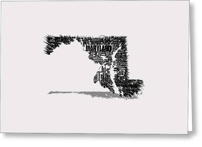 Maryland Typographic Map 4b Greeting Card by Brian Reaves