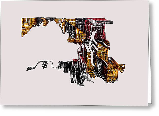Maryland Typographic Map 4e Greeting Card by Brian Reaves