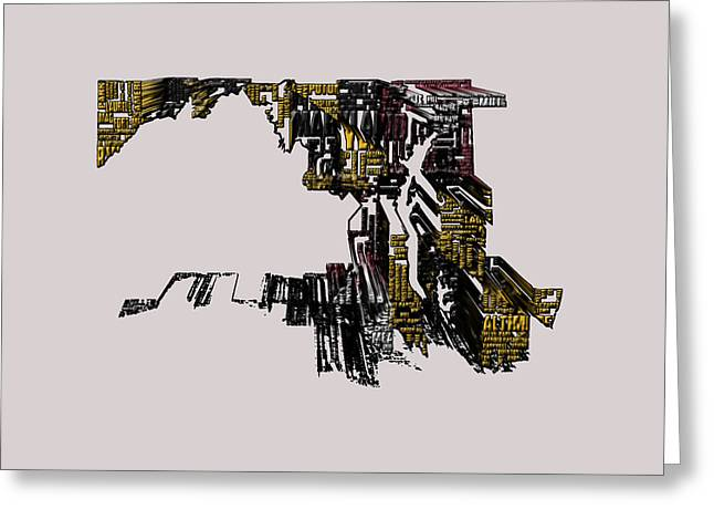 Maryland Typographic Map 4f Greeting Card by Brian Reaves