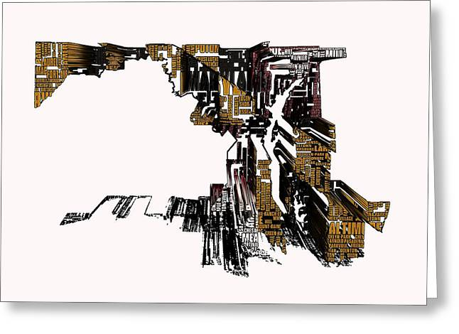 Maryland Typographic Map 4i Greeting Card by Brian Reaves