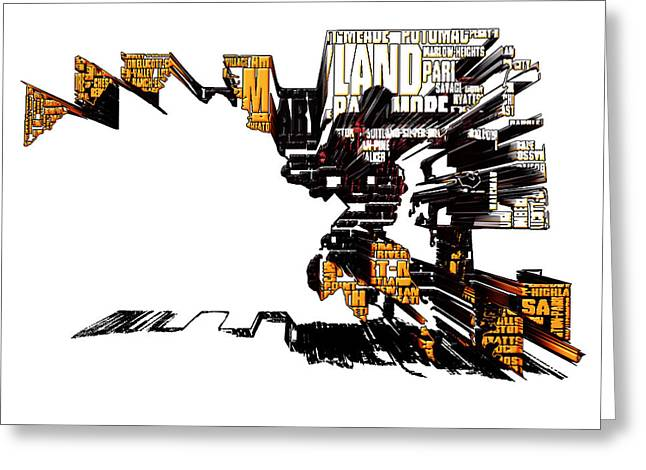 Maryland Typographic Map 4j Greeting Card by Brian Reaves