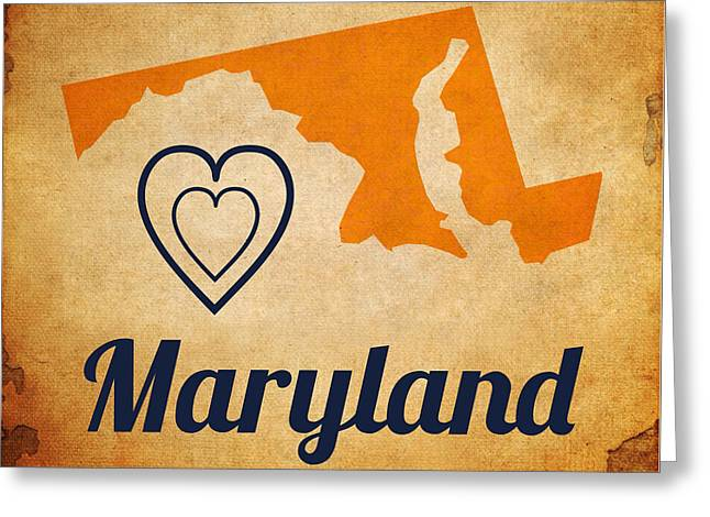 Maryland Vintage Greeting Card by Brandi Fitzgerald