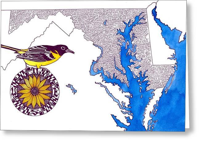 Maryland Word Map Greeting Card by Terri Kelleher